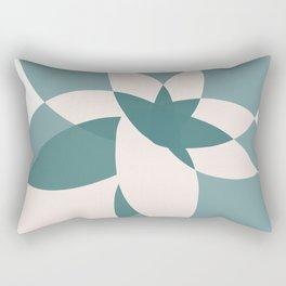 Abstract graphic bloom in teal and pale rose Rectangular Pillow