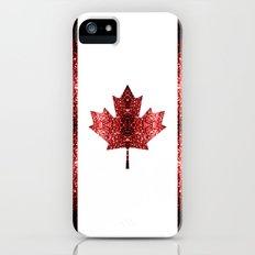 Canada flag red sparkles iPhone (5, 5s) Slim Case