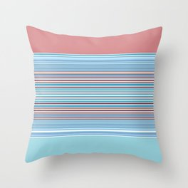 Pastel Baby Blue Pink Stripes Throw Pillow