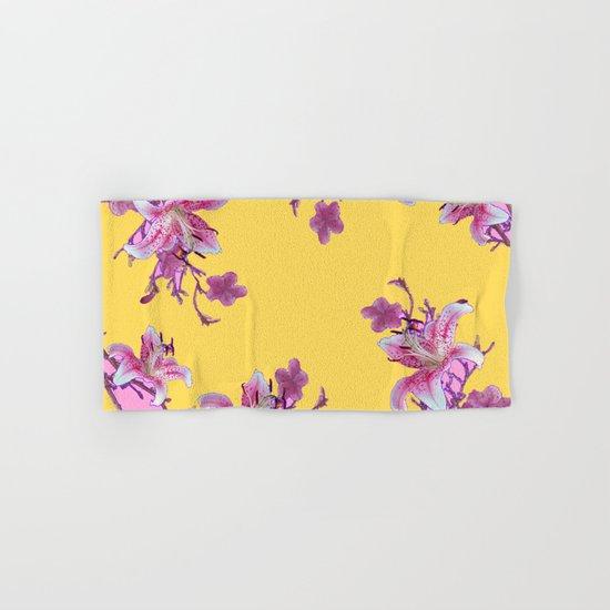 Modern Decorative Bathroom Towels : Decorative yellow modern art floral hand bath towel by