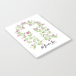 No Greater Love Floral Cross Notebook