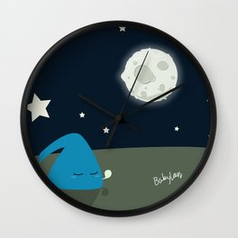 BLU so Tired : little adventure for little space creature Wall Clock