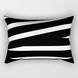 Abstract black & white Lines Stripes Pattern - Mix and Match with Simplicity of Life Rectangular Pillow