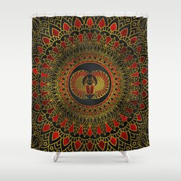 Egyptian Scarab Beetle - Gold and red  metallic Shower Curtain