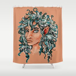 Female elf profile 1d ver. 2 Shower Curtain