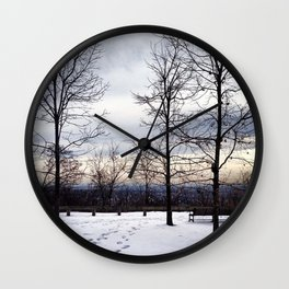 Bare Snowy Trees in South Mountain Reservation Wall Clock