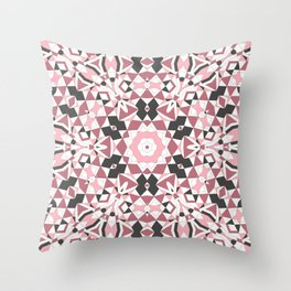 Mandala gray and pink Throw Pillow