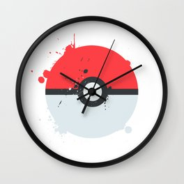 Pokeball Splatter Wall Clock