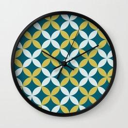 Dark Teal, Pale Blue and Dark Yellow 4 Leaf Minimal Flower Petal Pattern Inspired by Sherwin Williams 2020 Trending Color Oceanside SW6496 Wall Clock