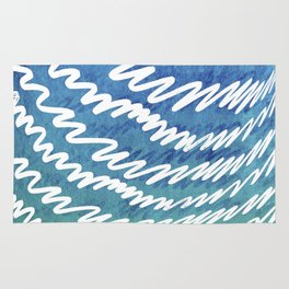 Irregular white lines on blue and green gradient background Rug