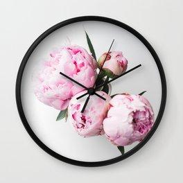 Pink Peonies 01 Wall Clock