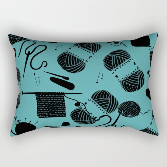 yarn teal Rectangular Pillow