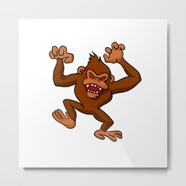 Angry Monkey Cartoon. Metal Print