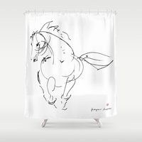 wind Shower Curtains featuring Horse (Wind) by Paper Horses