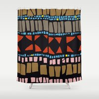 mexican Shower Curtains featuring Mexican Mosaic by MonicaQu