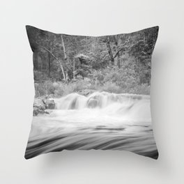 Black and White River Throw Pillow