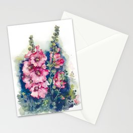 Watercolor Hollyhocks pink flowers Stationery Cards
