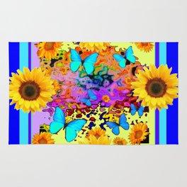 Blue Design Sunflower Butterflies Dream Rug