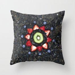 Fruitful Flowers - kiwi Throw Pillow