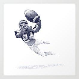 Football receiver making a fantastic catch. Art Print