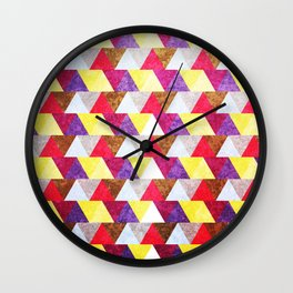 Abstract Multi-Color Triangle Geometric Seamless Pattern #02 Wall Clock