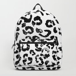 Modern black white marble stylish leopard pattern Backpack