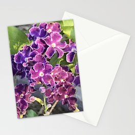 Magical Pink and Purple Periwinkle Flowers Stationery Cards