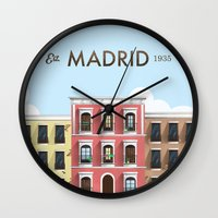real madrid Wall Clocks featuring Madrid by Sara Enriquez