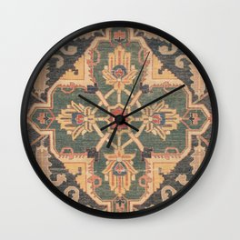 Geometric Leaves VI // 18th Century Distressed Red Blue Green Colorful Ornate Accent Rug Pattern Wall Clock