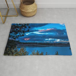 California USA June Lake Nature Scenery Night Rivers Clouds landscape photography river night time Rug