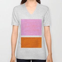 Pastel Neon Pink Yellow Ochre Mid Century Modern Abstract Minimalist Rothko Color Field Squares Unisex V-Neck