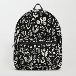 Black and white botanical pattern Backpack