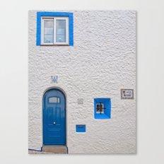 Blue door in Sitges Canvas Print
