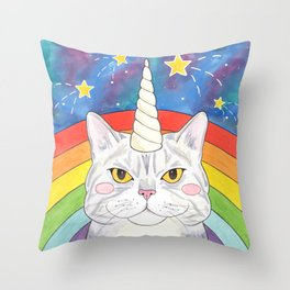 Magical Caticorn Rainbow Galaxy Throw Pillow