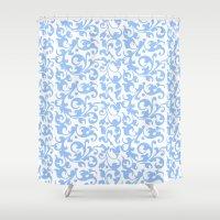 renaissance Shower Curtains featuring Blue Renaissance Scroll by Antique Images