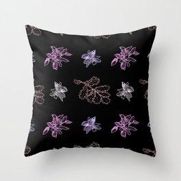 Quercus (black, purple) Throw Pillow
