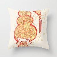 bon iver Throw Pillows featuring Bon Bon Girl - Flowers by Modondi