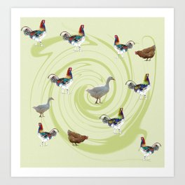 chicken and  geese and rooster Art Print
