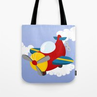 plane Tote Bags featuring plane by Alapapaju