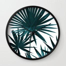 Fan Palm Leaves Jungle #1 #tropical #decor #art #society6 Wall Clock