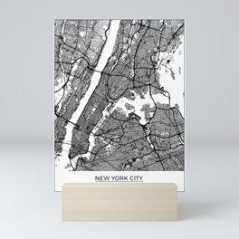 New York City, New York Map Art (White) Mini Art Print