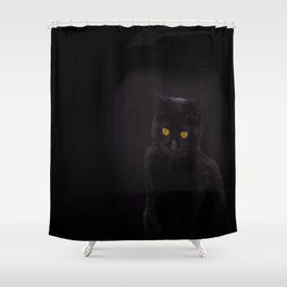 Black Cat On A Black Background #decor #buyart #society6 Shower Curtain