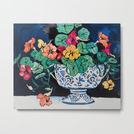 Nasturtium Bouquet in Chinoiserie Bowl on Dark Blue Floral Still Life Painting Metal Print