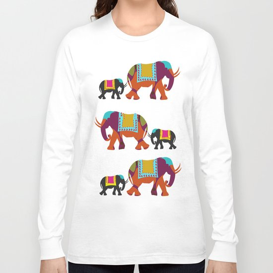 Elephants on the Streets of India Long Sleeve T-shirt