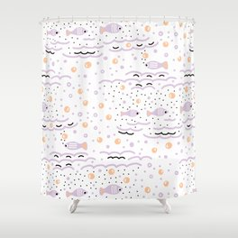 Little Lilac Fish in the Sea , Waves and Water with Tiny School of Fishes Pattern Shower Curtain