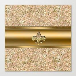 Pink & Gold Glitter Fleur De Lis Canvas Print