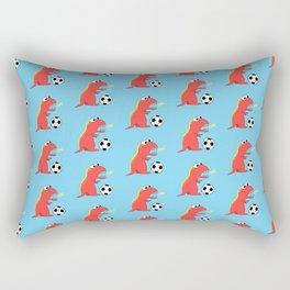 Blue Cartoon Dinosaur Soccer Pattern Rectangular Pillow
