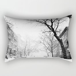 New York City At Snow Time Black and White Rectangular Pillow