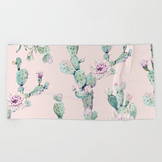 Cactus Rose Pattern on Pink Beach Towel