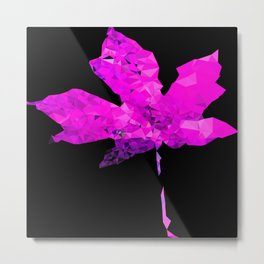 pink geometric polygon maple leaf abstract with black background Metal Print